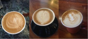 From left to right, the pictures are Kaya's Store, The Kona Coffee and Tea Company, and Daylight Mind Coffee Company.