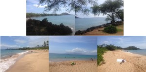 Top pictures is Makena Landing Park. Bottom pictures is Maluaka Beach.